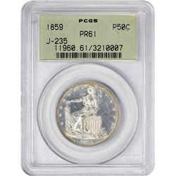 Paquet's Pattern 1859 Half Dollar 1859 Pattern Half Dollar. Judd-235, Pollock-282. Silver. Reeded Ed