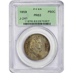 Popular Pattern 1859 Half Dollar Longacre's French Head 1859 Pattern Half Dollar. Judd-241, Pollock-