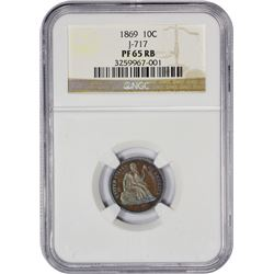 Gem Proof 1869 Copper Dime Pattern Finest Seen by NGC 1869 Pattern Dime. Judd-717, Pollock-795. Copp