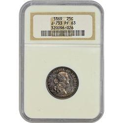 Popular 1869 Standard Silver Quarter Pattern 1869 Pattern Quarter. Judd-733, Pollock-814. Silver. Re