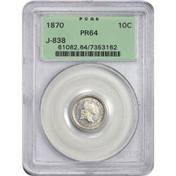 Choice 1870 Standard Silver Pattern Dime 1870 Pattern Dime. Standard Silver. Judd-838, Pollock-929.