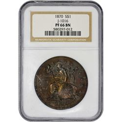 Gem Proof Copper 1870 Pattern $1 1870 Pattern Dollar. Judd-1016, Pollock-1150. Indian Princess on Gl