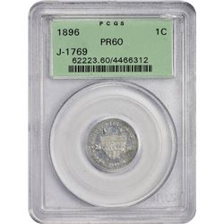 1896 Shield Cent Pattern 1896 Pattern Cent. Judd-1769, Pollock-1985. Aluminum. Plain Edge. Coin Turn