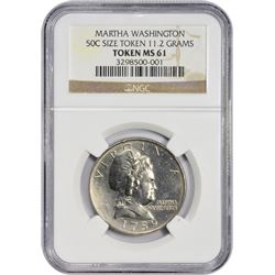 "Uncirculated ""1759"" Martha Washington Token (1965) Pattern Half Dollar. Judd-2132, Pollock-2083. Cup"