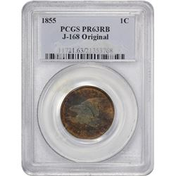 Proof Pattern 1855 Flying Eagle Cent 1855 Pattern Cent. Judd-168, Pollock-193. Copper. Plain Edge. R