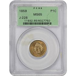 Pattern 1859 Indian Cent 1859 Pattern Cent. Judd-228, Pollock-272. Cupro-Nickel. Plain Edge. Rarity-