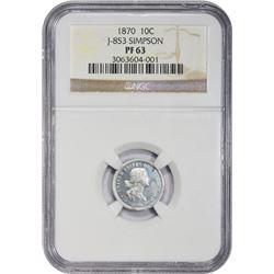 Aluminum Pattern 1870 Dime 1870 Pattern Ten-Cents. Judd-853, Pollock-961. Standard Silver Series. Al