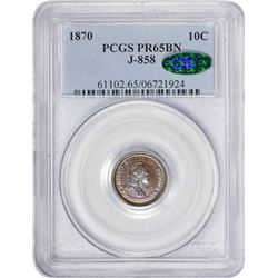 Copper 1870 Mini-Dime Pattern 1870 Pattern Ten-Cents. Judd-858, Pollock-938. Standard Silver Series.