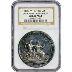 Choice Proof 1826 Erie Canal Medal New York. Erie. 1826 So-Called Dollar. Erie Canal Completion. HK-