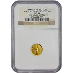 Gold 1909 A.Y.P.E. 1 DWT. So-Called $1 Ex Virgil Brand Washington. Seattle. 1909 So-Called Dollar. A