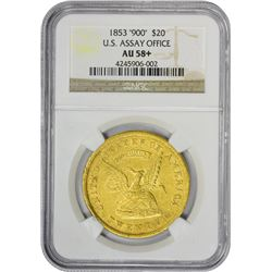 Choice AU 1853 U.S.A.O.G. $20 900 THOUS 1853 United States Assay Office of Gold $20. Kagin-12. Rarit