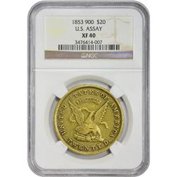 EF 1853 U.S.A.O.G. $20 1853 United States Assay Office of Gold $20. Kagin-12. Rarity-6. EF-40 NGC.