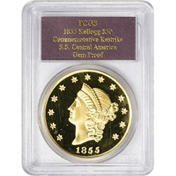 "Restrike ""1855"" (2001) Kellogg $50 Gold From S.S. Central America Gold ""1855"" (2001) Gold Restrike."