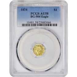 Choice AU 1854 Octagonal Gold $1 1854 Octagonal Dollar. BG-504. Liberty Head. Rarity-5-. AU-58 PCGS.