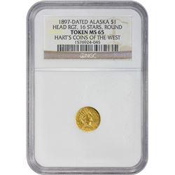 1897-Dated Alaska Indian Head Pinch M.E. Hart. 1897-Dated Alaska Gold Pinch. Round. Large Indian Hea