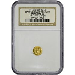1914-Dated Gold Idaho Token M.E. Hart. 1914-Dated Idaho Gold Token. Round. Indian Head. $1 Size. MS-