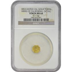 1853-Dated Arms of California Gold Token California Gold Token. 1853-Dated Arms of California. 25¢ S