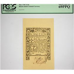 Finest PCGS Graded RI-293 Colonial Note RI-293. Rhode Island Colonial Currency. May 1786. 2 Shilling