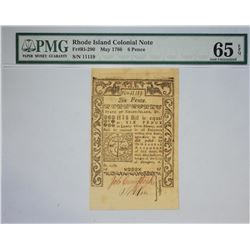 RI-290. Rhode Island Colonial Currency. May 1786. 6 Pence. PMG Gem Uncirculated 65 EPQ.