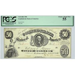 T-8. 1861 $50 Confederate Currency. PCGS Choice About New 55.
