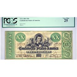 T-21. 1861 $20 Confederate Currency. PCGS Very Fine 25.