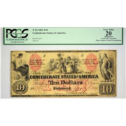 T-22. 1861 $10 Confederate Currency. PCGS Very Fine 20 Apparent. Cross-Cut Cancelled, Minor Stains;