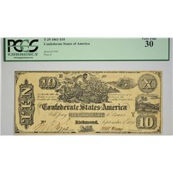 T-29. 1861 $10 Confederate Currency. PCGS Very Fine 30.