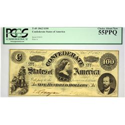 T-49. 1862 $100 Confederate Currency. PCGS Choice About New 55 PPQ.