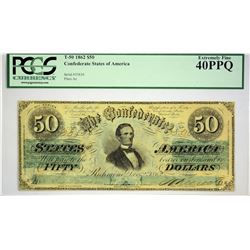T-50. 1862 $50 Confederate Currency. PCGS Extremely Fine 40 PPQ.