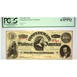 T-56. 1863 $100 Confederate Currency. PCGS Choice New 63 PPQ.