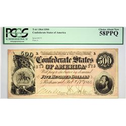 T-64. 1864 $500 Confederate Currency. PCGS Choice About New 58 PPQ.