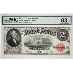 Fr. 60. 1917 $2 Legal Tender Note. PMG Choice Uncirculated 63 EPQ.