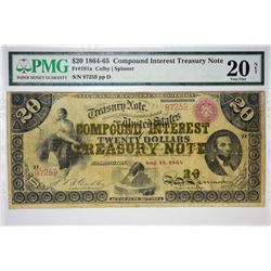 1864 $20 Compound Interest Treasury Note Fr. 191a. 1864 $20 Compound Interest Treasury Note. PMG Ver