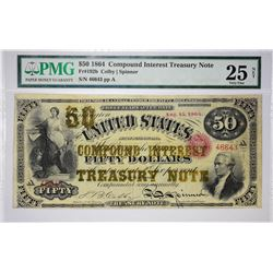Rare 1864 $50 Compound Interest Treasury Note Fr. 192b. 1864 $50 Compound Interest Treasury Note. PM