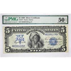 $5 Federal Essay Proof Fr. 277. 1899 $5 Silver Certificate. PMG About Uncirculated 55 EPQ.