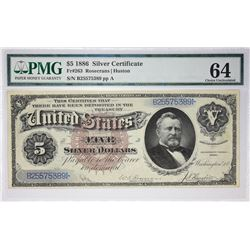 "Desirable Choice Uncirculated ""Silver Dollar Back"" Five Dollar Silver Certificate Fr. 263. 1886 $5 S"