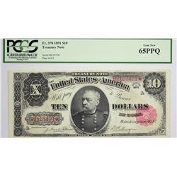 Fr. 370. 1891 $10 Treasury Note. PCGS Gem New 65 PPQ.