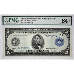 Fr. 851a*. 1914 $5 Federal Reserve Star Note. PMG Choice Uncirculated 64 EPQ.