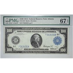 Finest PMG Certified Fr. 1104 $100 FRN Fr. 1104. 1914 $100 Federal Reserve Note. Atlanta. PMG Superb