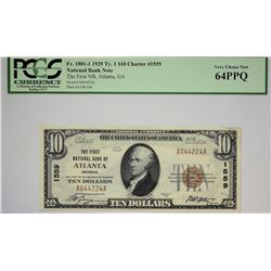 Atlanta, Georgia. FNB. 1929 $10 Ty. 1. Fr. 1801-1. Charter 1559. PCGS Very Choice New 64 PPQ.