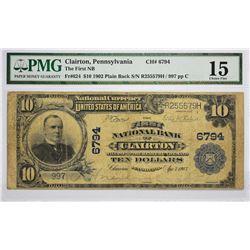 Clairton, Pennsylvania. FNB. 1902 $10 Plain Back. Fr. 624. Charter 6794. PMG Choice Fine 15.