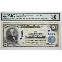 Hazleton, Pennsylvania. Hazleton NB. 1902 $20 Plain Back. Fr. 653. Charter 4204. PMG Very Fine 30.