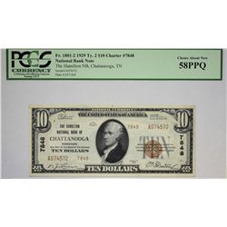 Chattanooga, Tennessee. Hamilton NB. 1929 $10 Ty. 2. Fr. 1801-2. Charter 7848. PCGS Choice About New