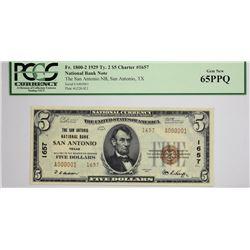 San Antonio, Texas. San Antonio NB. 1929 $5 Ty. 2. Fr. 1800-2. Charter 1657. PCGS Gem New 65 PPQ. Se