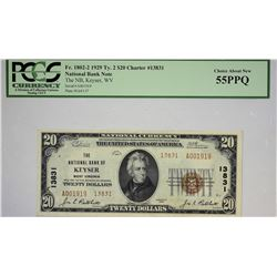 Keyser, West Virginia. FNB. 1929 $20 Ty. 2. Fr. 1802-2. Charter 13831. PCGS Choice About New 55 PPQ.