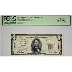 Wausau, Wisconsin. FNB. 1929 $5 Ty. 1. Fr. 1800-1. Charter 2820. PCGS Gem New 66 PPQ.