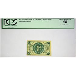 Fr. 1226. 3 Cents. Third Issue. PCGS Choice About New 58. Inverted Back