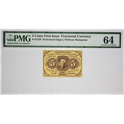 Fr. 1229. 5 Cents. First Issue. PMG Choice Uncirculated 64.