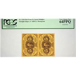 Fr. 1230. 5 Cents. First Issue. PCGS Very Choice New 64 PPQ. Strip of Two.
