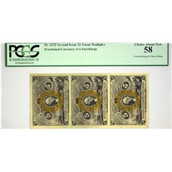Fr. 1232. 5 Cents. Second Issue. PCGS Choice About New 58. Strip of Three.